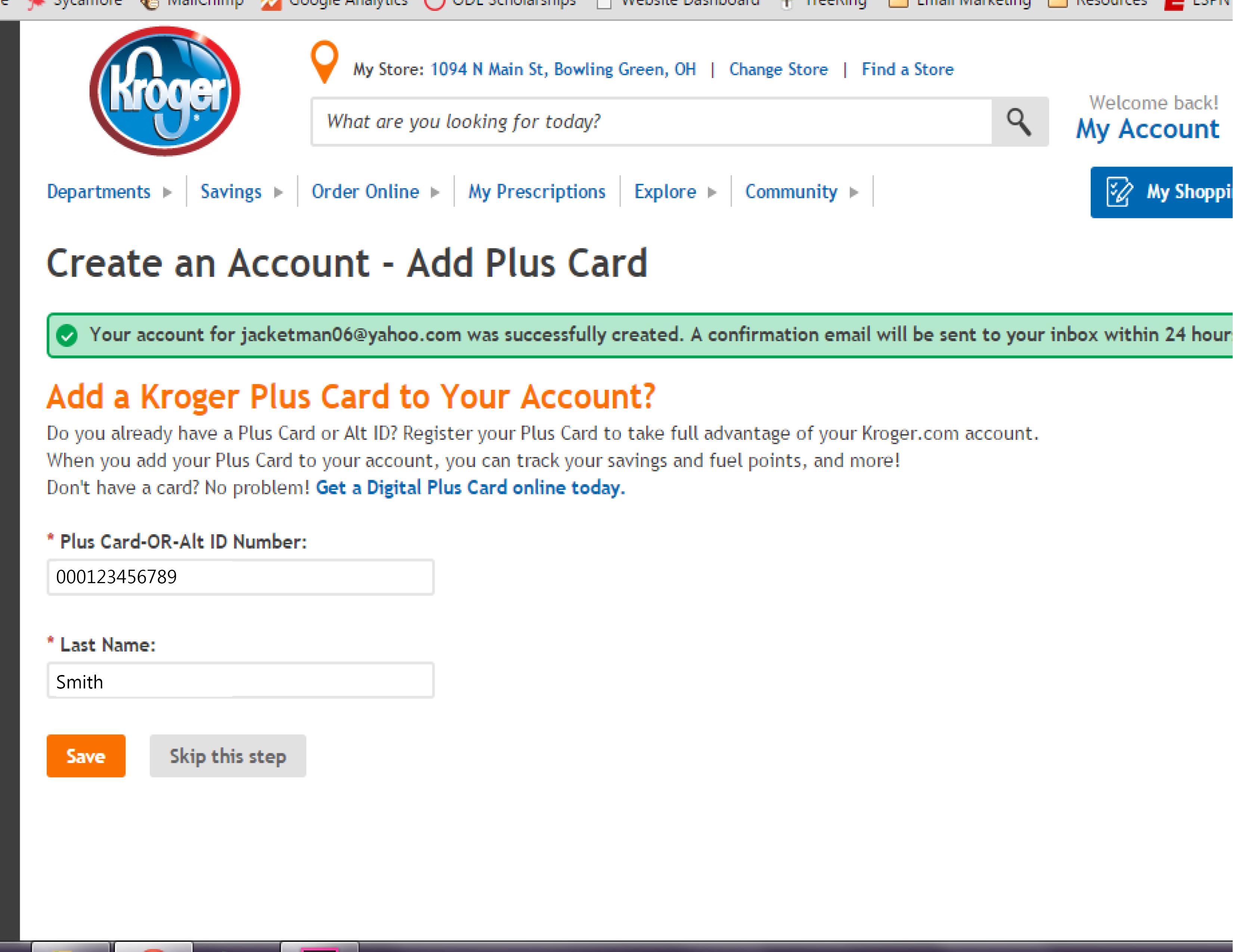Kroger Rewards Sign Up_Creat Account Step 2